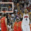 United States\' Tyson Chandler celebrates after a men\'s gold medal basketball game against Spain at the 2012 Summer Olympics, Sunday, Aug. 12, 2012, in London. USA won 107-100. (AP Photo/Eric Gay)