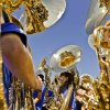 The tuba section prepares to perform as the
