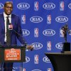 Kevin Durant is all smiles as he speaks during a news conference announcing Durant as the winner of the 2013-14 Kia NBA Basketball Most Value Player Award in Oklahoma City, Okla. on Tuesday, May 6, 2014. Photo by Chris Landsberger, The Oklahoman