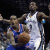 New York Knicks\' J.R. Smith, left, is guarded by Memphis Grizzlies\' Tony Allen (9) during the first half of an NBA basketball game in Memphis, Tenn., Friday, Nov. 16, 2012. (AP Photo/Danny Johnston)