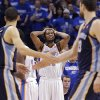 Oklahoma City\'s Kevin Durant (35) reacts after Reggie Jackson (15) fouled Memphis on a three point shot in the final seconds of the game during the second round NBA playoff basketball game between the Oklahoma City Thunder and the Memphis Grizzlies at Chesapeake Energy Arena in Oklahoma City, Sunday, May 5, 2013. Photo by Chris Landsberger, The Oklahoman