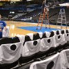 Nancy Cullen places tee shirts on chair backs at the Chesapeake Energy Arena for game two of the NBA Finals between the Oklahoma City Thunder and the Miami Heat Thursday June 14, 2012. Photo by Zeke Campfield, The Oklahoman