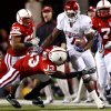 Oklahoma\'s DeMarco Murray (7) is forced out of bounds by Nebraska\'s P.J. Smith (13) during the second half of the college football game between the University of Oklahoma Sooners (OU) and the University of Nebraska Cornhuskers (NU) on Saturday, Nov. 7, 2009, in Lincoln, Neb. Photo by Chris Landsberger, The Oklahoman