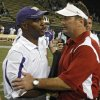 Oklahoma coach Bob Stoops and Washington coach Ty Willingham shake hands after the Sooners\' 55-14 win in the college football game between the University of Oklahoma Sooners (OU) and the University of Washington Huskies (UW) at Husky Stadium on Saturday, Sep. 13, 2008, in Seattle, Wash. by Chris Landsberger, The Oklahoman