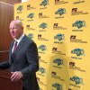 Photo - North Dakota State coach Craig Bohl addresses the media during his weekly NCAA college football news conference Tuesday, Dec. 10, 2013, in Fargo, N.D. Two days after he was named the next coach at Wyoming, Bohl said he will coach the Bison through the Football Championship Subdivision playoffs. (AP Photo/Dave Kolpack)
