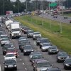 A line of traffic extends down Interstate 10 heading towards Baton Rouge, as many residents leave the New Orleans area in anticipation of tropical storm Isaac, which is expected to make landfall on the Louisiana coast as a hurricane, in Kenner, La., Monday, Aug. 27, 2012. (AP Photo/Gerald Herbert)