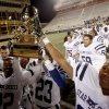 Members of the Star Spencer football team celebrate after winning the Class 4A high school football state championship game betweeen Star Spencer Douglass at Boone Pickens Stadium in Stillwater, Okla., Saturday, December 5, 2009. Photo by Bryan Terry, The Oklahoman