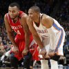 Houston\'s Daequan Cook (14) and Oklahoma City \'s Russell Westbrook (0) talk during the NBA basketball game between the Houston Rockets and the Oklahoma City Thunder at the Chesapeake Energy Arena on Wednesday, Nov. 28, 2012, in Oklahoma City, Okla. Photo by Chris Landsberger, The Oklahoman