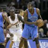 Cleveland Cavaliers\' J.J. Hickson (21) defends Oklahoma City Thunder\'s Joe Smith (7) during an NBA basketball game, Wednesday, Nov. 26, 2008, in Cleveland. (AP Photo/Mark Duncan) ORG XMIT: OTKMD118
