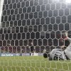 Photo -   Spartak Moscow's goalkeeper Sergei Pesyakov fails to save a shot by Celtic's Giorgos Samaras, unseen, during their Champions League Group G soccer match at the Luzhniki stadium in Moscow, Russia, on Tuesday, Oct. 2, 2012. Celtic won 3-2. (AP Photo/Ivan Sekretarev)