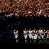 The Florida A&M Rattlers take the field during the college football game between the University of Oklahoma Sooners (OU) and Florida A&M Rattlers at Gaylord Family—Oklahoma Memorial Stadium in Norman, Okla., Saturday, Sept. 8, 2012. Photo by Bryan Terry, The Oklahoman
