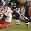 Photo -   Kansas City Chiefs quarterback Matt Cassel, left, is brought down by San Diego Chargers linebacker Donald Butler during an NFL football game Thursday, Nov. 1, 2012, in San Diego. The Chargers won 31-13. (AP Photo/Gregory Bull)