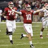 Alabama\'s AJ McCarron (10) reacts after a touchdown pass during the NCAA football BCS Sugar Bowl game between the University of Oklahoma Sooners (OU) and the University of Alabama Crimson Tide (UA) at the Superdome in New Orleans, La., Thursday, Jan. 2, 2014. .Photo by Chris Landsberger, The Oklahoman