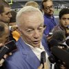 Photo -   Dallas Cowboys owner Jerry Jones speaks to reporters during NFL football practice at Cowboys Stadium Wednesday, May 30, 2012 in Arlington, Texas. Jones says he has no interest in going to federal court to seek relief after an arbitrator upheld the NFL's salary cap reductions against the Dallas Cowboys and Washington Redskins. (AP Photo/LM Otero)