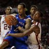 Oklahoma\'s Buddy Hield (3) tries to steal the ball from Kansas\' Travis Releford (24) during the second half as the University of Oklahoma Sooners (OU) defeat the Kansas Jayhawks (KU) 72-66 in NCAA, men\'s college basketball at The Lloyd Noble Center on Saturday, Feb. 9, 2013 in Norman, Okla. Photo by Steve Sisney, The Oklahoman