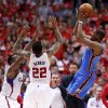 Oklahoma City\'s Kevin Durant (35) shoots over Los Angeles\' Matt Barnes (22) and DeAndre Jordan (6) during Game 6 of the Western Conference semifinals in the NBA playoffs between the Oklahoma City Thunder and the Los Angeles Clippers at the Staples Center in Los Angeles, Thursday, May 15, 2014. Photo by Nate Billings, The Oklahoman