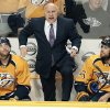 FILE - In this Dec. 3, 2013, file photo, Nashville Predators head coach Barry Trotz, center, yells to an official in the third period of an NHL hockey game against the Vancouver Canucks in Nashville, Tenn. The Predators announced Monday, April 14, 2014, that Trotz\'s contract will not be renewed and the team will begin looking for a new head coach. (AP Photo/Mark Humphrey, File)
