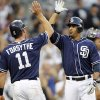 Photo -   San Diego Padres' Logan Forsythe (11) congratulates Jesus Guzman, right, for hitting a three-run home run against the Colorado Rockies during the third inning of a baseball game in San Diego, Saturday, Sept. 15, 2012. (AP Photo/Alex Gallardo)