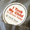 Photo - Sticker for Take Your Child to School Day, Friday, September 21, 2001.   Six Oklahoma City Public Schools will be part of the inaugural event. Photo By David McDaniel/The Oklahoman