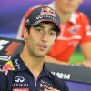 Photo - Red Bull driver Daniel Ricciardo of Australia listens to a question from a journalist during a press conference in Spielberg, Austrian province of Styria, Thursday, June 19, 2014. The Austria Formula One Grand Prix will be held here  on Sunday. (AP Photo/Kerstin Joensson)