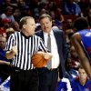 Kansas head coach Bill Self talks to a referee as the University of Oklahoma Sooners (OU) play the Kansas Jayhawks (KU) in NCAA, men\'s college basketball at The Lloyd Noble Center on Saturday, Feb. 9, 2013 in Norman, Okla. Photo by Steve Sisney, The Oklahoman