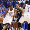 Oklahoma City\'s Kevin Durant (35) dribbles past Shane Battier (31) of Memphis as Kendrick Perkins (5) of Oklahoma City sets a screen in the second half during game 7 of the NBA basketball Western Conference semifinals between the Memphis Grizzlies and the Oklahoma City Thunder at the OKC Arena in Oklahoma City, Sunday, May 15, 2011. The Thunder won, 105-90. Photo by Nate Billings, The Oklahoman