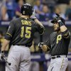 Photo - Pittsburgh Pirates' Russell Martin, right, high fives on-deck batter Ike Davis after hitting a home run off Tampa Bay Rays relief pitcher Brad Boxberger during the eighth inning of an interleague baseball game Tuesday, June 24, 2014, in St. Petersburg, Fla. (AP Photo/Chris O'Meara)