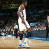 Oklahoma City\'s Kevin Durant limps on his right ankle following a collision in the first half against Houston during their NBA basketball game at the OKC Arena in downtown Oklahoma City on Wednesday, Nov. 17, 2010. Photo by John Clanton, The Oklahoman