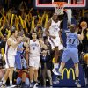 Oklahoma City\'s Kevin Durant (35) reacts with Nenad Krstic (12), left, and Nick Collison (4) in front of Utah\'s Carlos Boozer (5) and Andrei Kirilenko (47) at the end of the NBA basketball game between the Oklahoma City Thunder and the Utah Jazz at the Ford Center in Oklahoma City, Thursday, December 31, 2009. The Thunder won, 87-86. Photo by Nate Billings, The Oklahoman