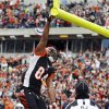 Photo - Cincinnati Bengals tight end Jermaine Gresham celebrates his four-yard touchdown catch against the San Diego Chargers in the first half of an NFL wild-card playoff football game on Sunday, Jan. 5, 2014, in Cincinnati. (AP Photo/David Kohl)