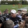 Philadelphia Eagles coach Andy Reid speaks with reporters at the team\'s NFL football training facility, Wednesday, Oct. 10, 2012, in Philadelphia. (AP Photo/Matt Rourke)