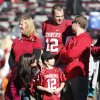 Quarterback Landry Jones is introduced with his family on Senior Day before the Bedlam college football game between the University of Oklahoma Sooners (OU) and the Oklahoma State University Cowboys (OSU) at Gaylord Family-Oklahoma Memorial Stadium in Norman, Okla., Saturday, Nov. 24, 2012. Photo by Steve Sisney, The Oklahoman