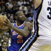 New York Knicks\' Raymond Felton (2) is pressured by Memphis Grizzlies\' Marc Gasol (33), of Spain, during the first half of an NBA basketball game in Memphis, Tenn., Friday, Nov. 16, 2012. (AP Photo/Danny Johnston)