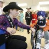 Candice Carper, Miss Rodeo USA 2007, talks to 5-year-old Aiden, as rodeo queens from the International Finals Rodeo visit children at the Children\'s Center in Bethany, OK, Friday, Jan. 18, 2008. BY PAUL HELLSTERN, THE OKLAHOMAN