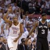 NBA BASKETBALL / CELEBRATION: Oklahoma City\'s Kevin Durant (35) celebrates next to San Antonio\'s Stephen Jackson (3) during Game 6 of the Western Conference Finals between the Oklahoma City Thunder and the San Antonio Spurs in the NBA playoffs at the Chesapeake Energy Arena in Oklahoma City, Wednesday, June 6, 2012. Photo by Bryan Terry, The Oklahoman