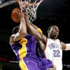 Oklahoma City\'s Jeff Green fouls Kobe Bryant of the Lakers during the NBA basketball game between the Los Angeles Lakers and the Oklahoma City Thunder at the Ford Center,Tuesday, Feb. 24, 2009. The Thunder lost 107-93. PHOTO BY BRYAN TERRY, THE OKLAHOMAN