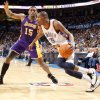 Oklahoma City\'s Kevin Durant (35) drives past Lakers\' Ron Artest (15) during the NBA basketball game between the Oklahoma City Thunder and the Los Angeles Lakers, Sunday, Feb. 27, 2011, at the Oklahoma City Arena.Photo by Sarah Phipps, The Oklahoman
