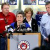 United State Secretary of Homeland Security Janet Napolitano addresses the media at a press conference concerning damage from Monday\'s tornado on Wednesday, May 22, 2013 at city hall in Moore, Okla. Behind left is Oklahoma Emergency Management Director Albert Ashwood and at right is Senator Tom Cole. Behind Napolitano is Gail McGovern with the American Red Cross. Photo by Steve Sisney, The Oklahoman