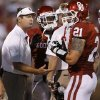 Photo - Oklahoma coach Bob Stoops talks with Tom Wort (21) and Tony Jefferson (1) during a college football game between the University of Oklahoma Sooners (OU) and the Kansas State University Wildcats (KSU) at Gaylord Family-Oklahoma Memorial Stadium, Saturday, September 22, 2012. Photo by Bryan Terry, The Oklahoman