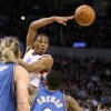 Oklahoma City Thunder guard Russell Westbrook passes the ball as Washington players Mike Miller and Gilbert Arenas look on during the Thunder - Wizards game November 20, 2009 in the Ford Center in Oklahoma City. BY HUGH SCOTT, THE OKLAHOMAN