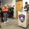 Black Hawk County sheriff\'s Capt. Rick Abben prepares to address the media about two bodies found in a wooden area earlier today at the Evansdale Police Station in Evansdale, Iowa Wednesday, Dec. 5, 2012. Hunters discovered two bodies Wednesday believed to be the young Iowa cousins who vanished five months ago while riding their bikes, authorities said. (AP Photo/Waterloo Courier, Tiffany Rushing )