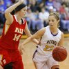 Photo - Bethel's Genna Robinson tries to get past Dale's Brayden Newton during their girls high school basketball game at Bethel High School in Shawnee, Okla., Friday, Feb. 1, 2013. Photo by Bryan Terry, The Oklahoman