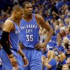 Oklahoma City\'s Kevin Durant (35) and Russell Westbrook (0) react during game 5 of the Western Conference Finals in the NBA basketball playoffs between the Dallas Mavericks and the Oklahoma City Thunder at American Airlines Center in Dallas, Wednesday, May 25, 2011. Photo by Bryan Terry, The Oklahoman