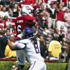 Photo -   South Carolina wide receiver DeAngelo Smith (6) makes a catch in the end zone above East Carolina defensive back Jacobi Jenkins for a touchdown during the first half of their NCAA college football game in Columbia, S.C., Saturday, Sept. 8, 2012. (AP Photo/Brett Flashnick)