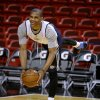 Oklahoma City\'s Russell Westbrook stretches before practice for Game 3 of the NBA Finals between the Oklahoma City Thunder and the Miami Heat at American Airlines Arena in Miami, Saturday, June 16, 2012. Photo by Bryan Terry, The Oklahoman