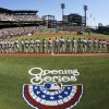 The Chicago Cubs line up along the first base line during opening day ceremonies before the baseball game between the Pittsburgh Pirates and the Chicago Cubs on Monday, March 31, 2014, in Pittsburgh. (AP Photo/Gene Puskar)