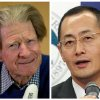 In this Monday, Oct. 8, 2012 photo combo, British scientist John Gurdon, left, speaks in London, and Japanese scientist Shinya Yamanaka, right, speaks in Kyoto after they were named winners of the 2012 Nobel Prize in medicine for discovering that mature, specialized cells of the body can be reprogrammed into stem cells — a discovery that scientists hope to turn into new treatments. (AP Photo/Matt Dunham, left; Kyodo News, right) JAPAN OUT, MANDATORY CREDIT, NO LICENSING IN CHINA, FRANCE, HONG KONG, JAPAN AND SOUTH KOREA