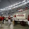 The Sooner Schooner waits before the college football game between the Brigham Young University Cougars (BYU) and the University of Oklahoma Sooners (OU) at Cowboys Stadium in Arlington, Texas, Saturday, September 5, 2009. By Bryan Terry, The Oklahoman