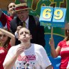 Joey Chestnut wins the Nathan\'s Famous Fourth of July International Hot Dog Eating contest with a total of 69 hot dogs and buns at Coney Island, Thursday, July 4, 2013, in the Brooklyn borough of New York. (AP Photo/John Minchillo)