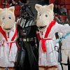 OU mascots Boomer and Sooner stand with Darth Vader before the men\'s college basketball game between the University of Colorado and the University of Oklahoma at Lloyd Noble Center in Norman, Okla., Saturday, Jan. 22, 2011. Photo by Nate Billings, The Oklahoman